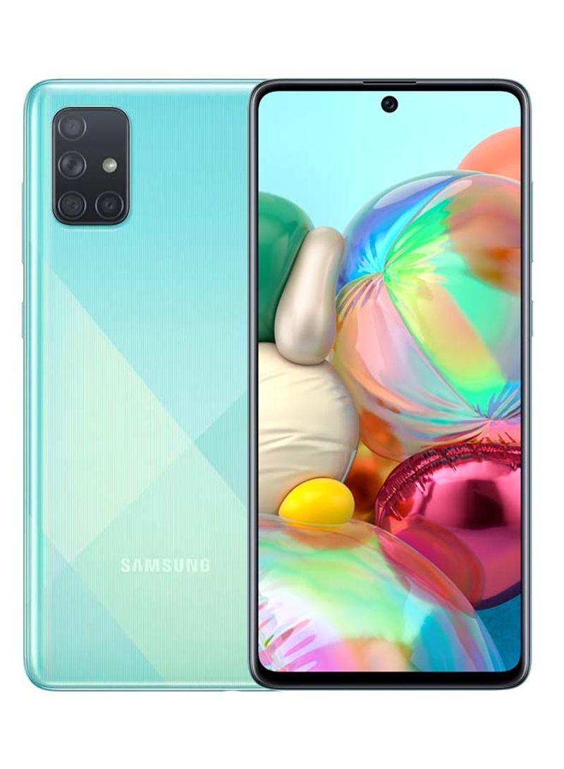 هاتف جالاكسي A71 لون أزرق بشريحة إتصال ثنائية وذاكرة رام 8 جيجابايت وذاكرة تخزين 128 جيجابايت وبتقنية 4G LTE