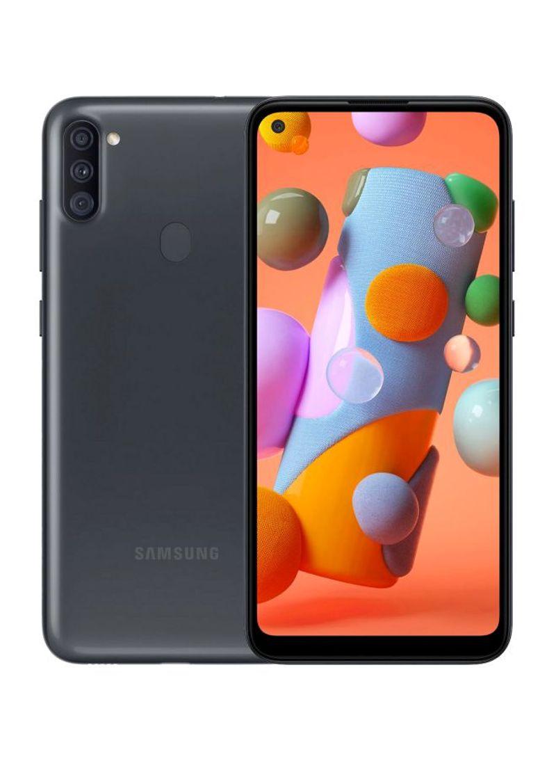 هاتف جالاكسي A11 بشريحتين بلون أسود بذاكرة رام 2 جيجابايت وذاكرة داخلية سعة 32 جيجابايت ويدعم تقنية 4G LTE