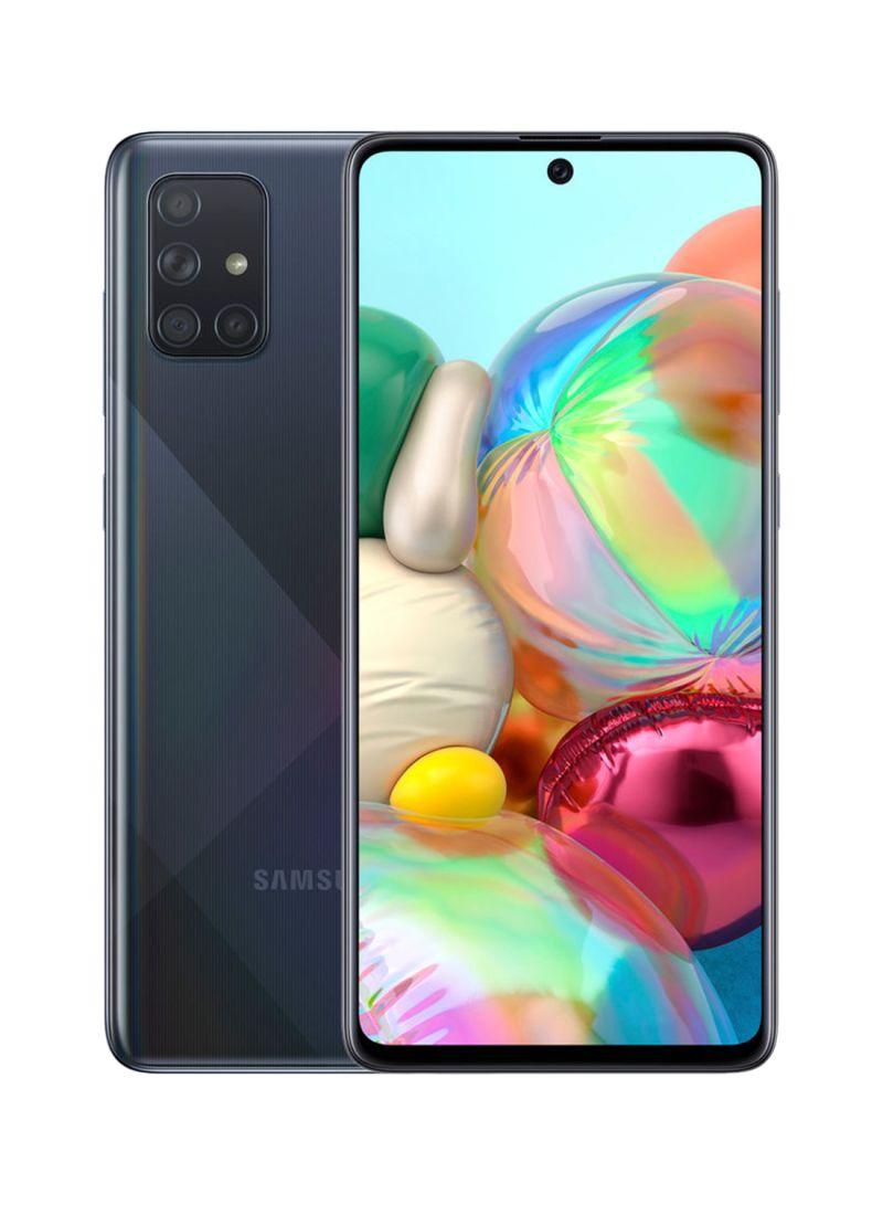 هاتف جالاكسي A71 ثنائي الشريحة بذاكرة رام 8 جيجابايت وسعة داخلية 128 جيجابايت يدعم تقنية 4G LTE - أسود بريزم كراش، إصدار دولة الإمارات