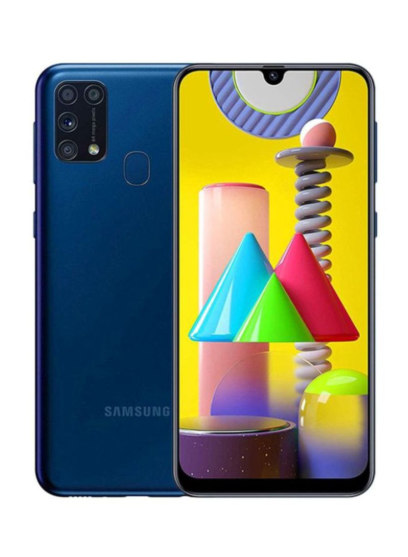 هاتف جالاكسي M31 بشريحتين SIM وذاكرة رام 6 جيجابايت وسعة تخزين 128 جيجابايت ومزود بتقنية 4G LTE، لون أزرق