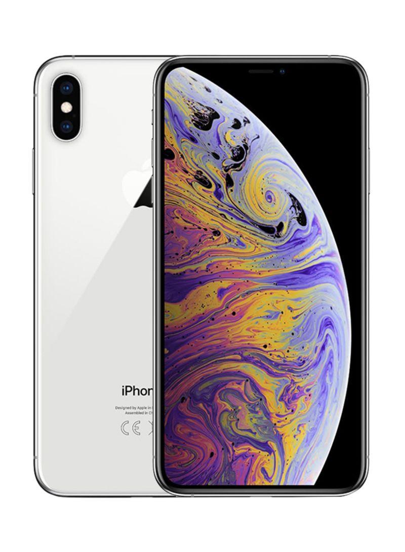 هاتف آيفون XS ماكس بخاصية فيس تايم بلون فضي وذاكرة داخلية سعة 64 غيغابايت ويدعم خدمة الجيل الرابع LTE