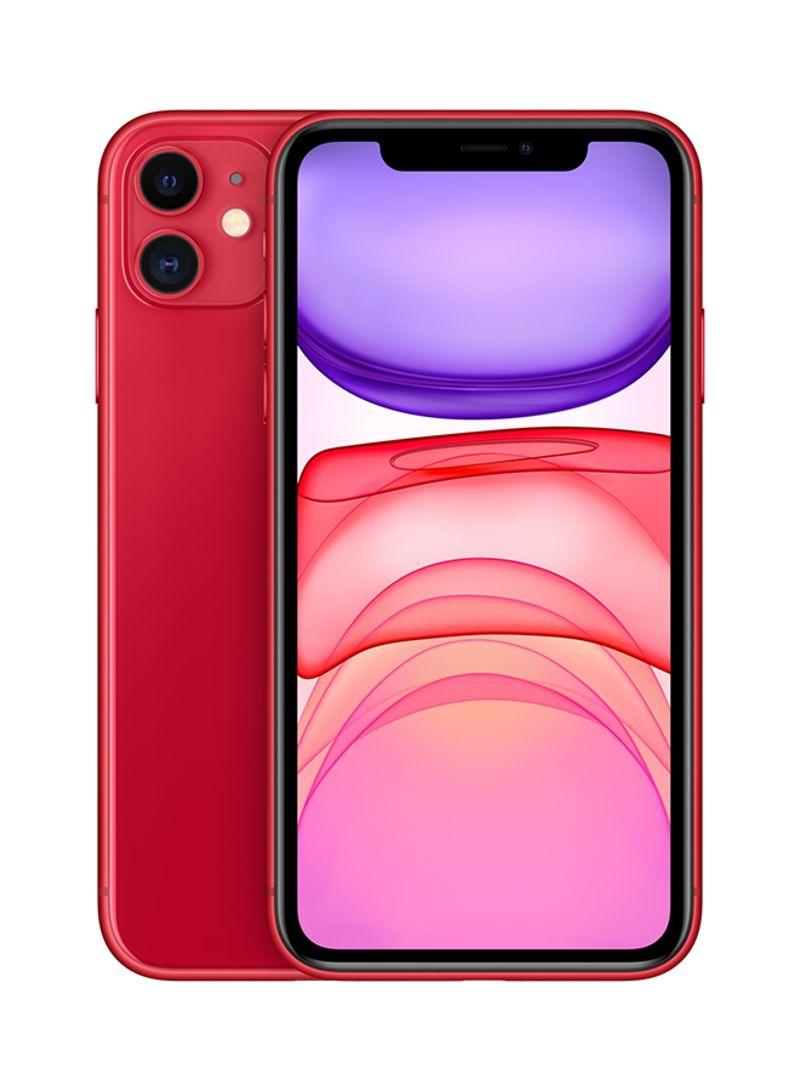 آيفون 11 مع فيس تايم (المنتج) بلون أحمر وذاكرة 128 جيجابايت ويدعم تقنية 4G LTE - بالمواصفات العالمية