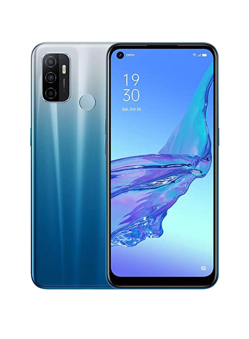 هاتف A53 ثنائي الشريحة، بذاكرة داخلية 64 جيجابايت وذاكرة رام 4 جيجابايت، يدعم تقنية 4G LTE لون أزرق فانسي