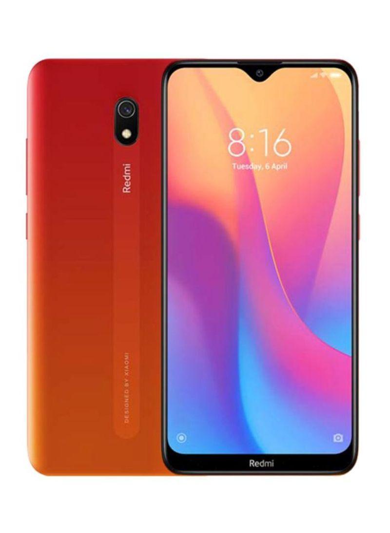 هاتف ريدمي 8A ثنائي الشريحة بسعة 32 جيجابايت وذاكرة رام 2 جيجابايت يدعم تقنية 4G LTE لون أحمر سانسيت