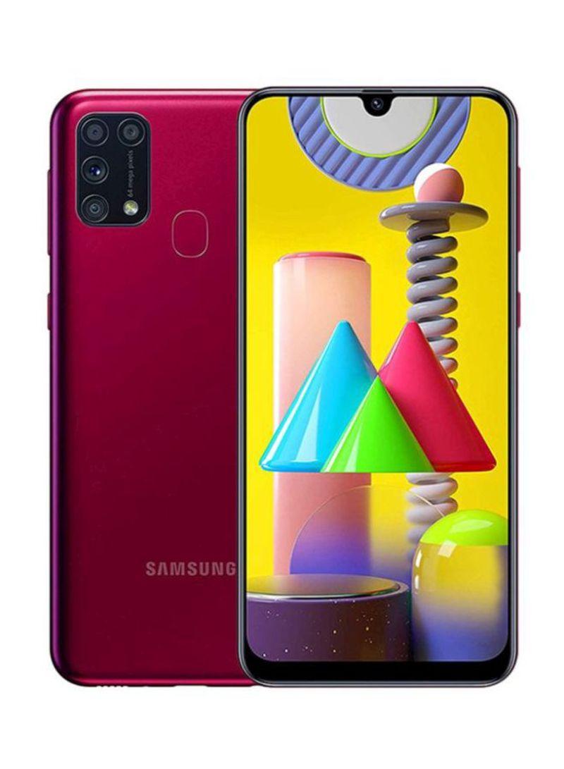 هاتف جالاكسي M31 بشريحتين SIM وذاكرة رام 6 جيجابايت وسعة تخزين 128 جيجابايت ومزود بتقنية 4G LTE، لون أحمر