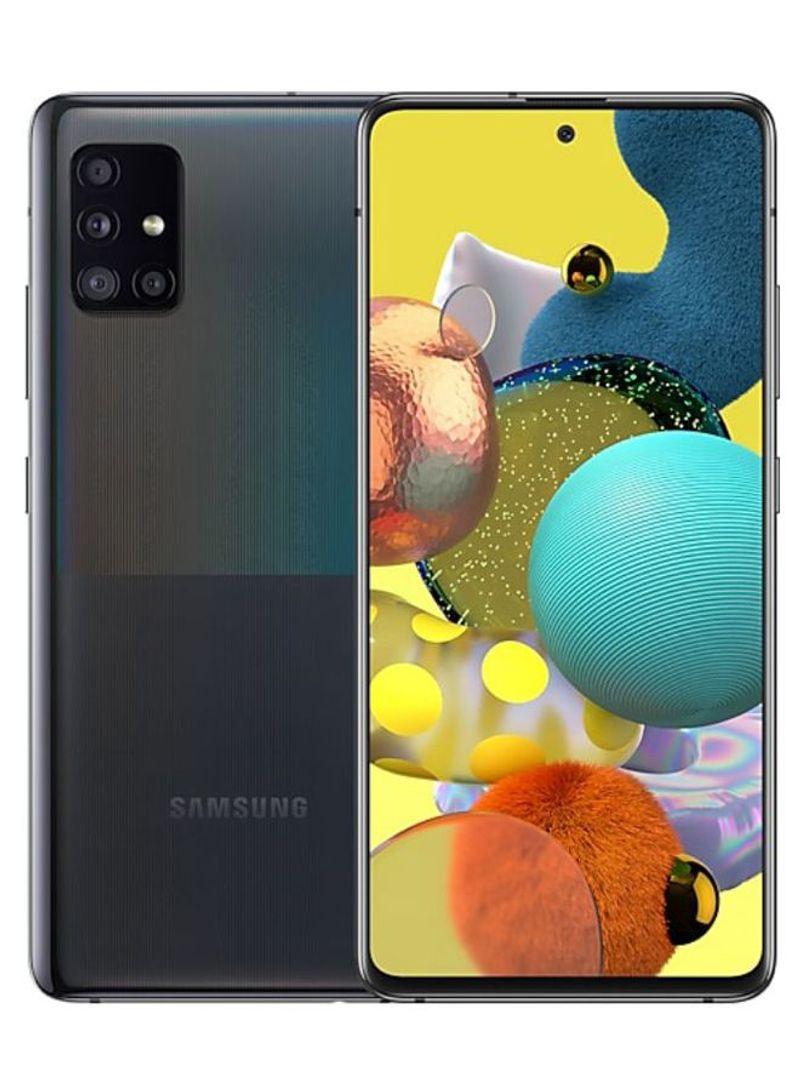 هاتف جالاكسي A51 أحادي الشريحة بذاكرة رام 8 جيجابايت وذاكرة داخلية 128 جيجابايت وتقنية 5G LTE، لون أسود زجاجي كيوب