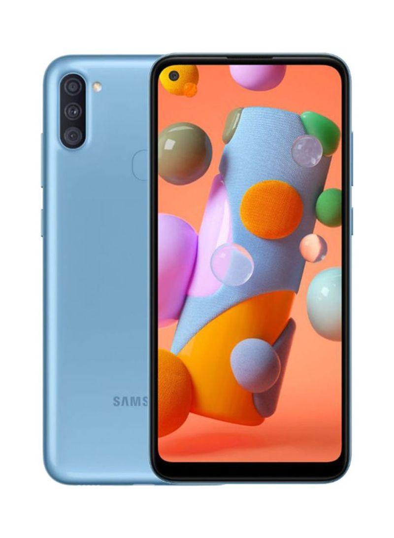 هاتف جالاكسي A11 بشريحتين بلون أزرق بذاكرة رام 2 جيجابايت وذاكرة داخلية سعة 32 جيجابايت ويدعم تقنية 4G LTE