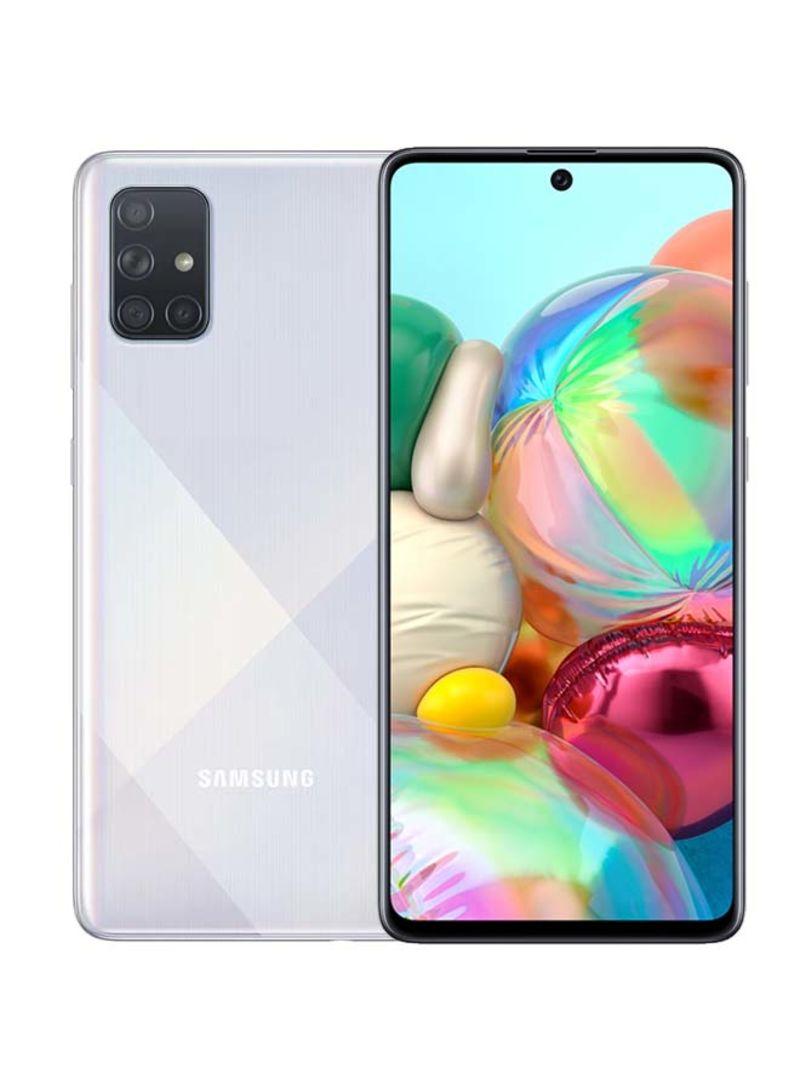هاتف جالاكسي A71 لون فضي ثنائي الشريحة وذاكرة رام 8 جيجابايت وذاكرة تخزين 128 جيجابايت وبتقنية 4G LTE