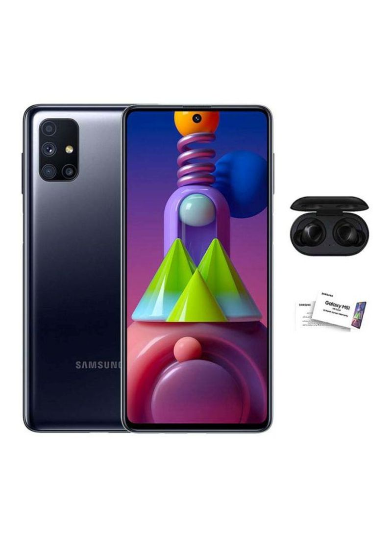 هاتف M51 ثنائي الشريحة بذاكرة رام سعة 8 جيجابايت وذاكرة داخلية سعة 128 جيجابايت يدعم تقنية 4G LTE بلون أسود مع سماعة أذن لاسلكية سامسونج GT2S ترو وبطاقة VIP