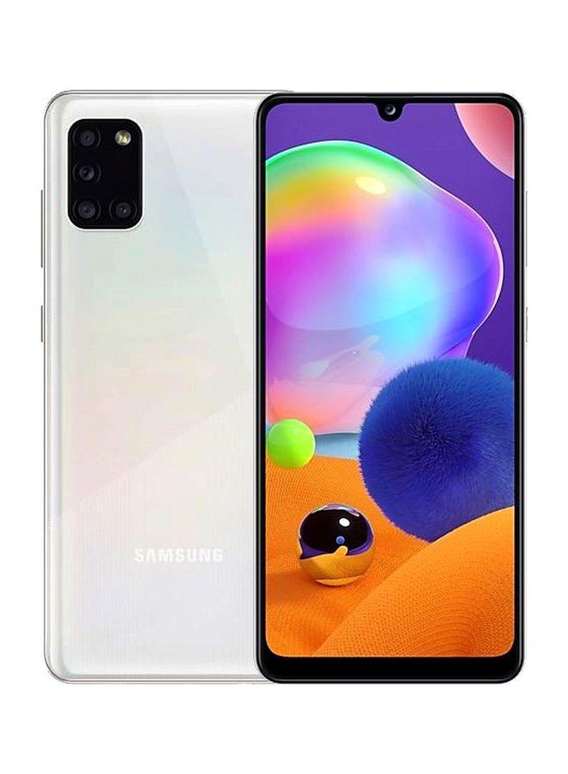 هاتف جالاكسي A31 بشريحتي اتصال بذاكرة داخلية سعة 128جيجابايت وذاكرة رام سعة 4 جيجابايت ويدعم تقنية 4G LTE لون أبيض بريزم كراش
