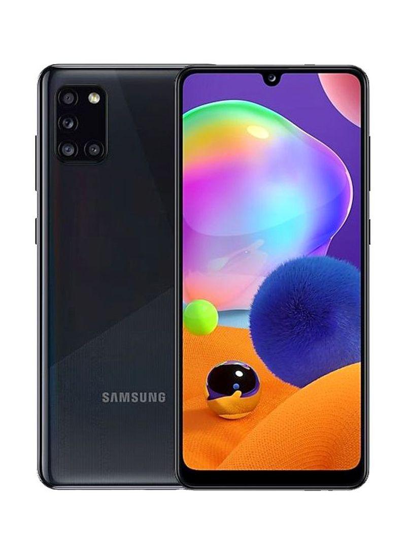 هاتف جالاكسي A31 بشريحيتن بلون أسود منشوري بتأثير Crush وذاكرة رام 4 جيجابايت وذاكرة داخلية سعة 128 جيجابايت ويدعم تقنية 4G LTE