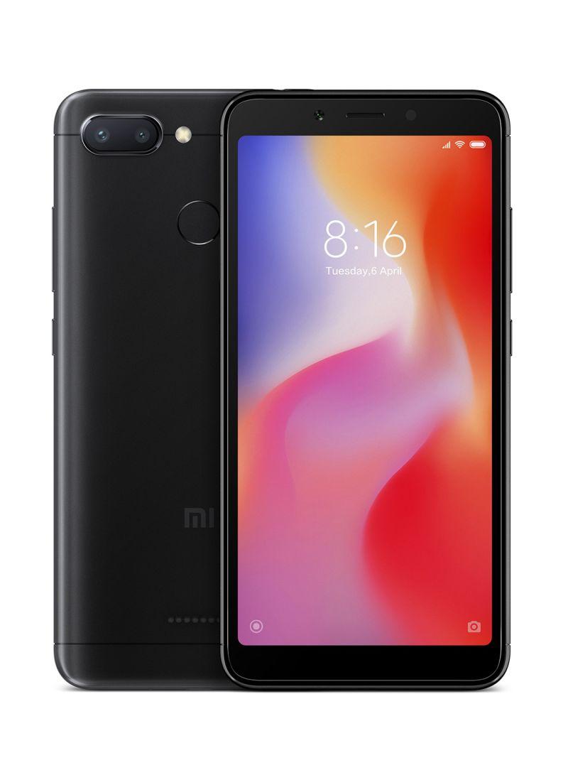 هاتف ريد مي 6 بشريحتي اتصال وذاكرة داخلية سعة 32 جيجابايت وذاكرة رام 3 جيجابايت، يدعم تقنية 4G LTE، لون أسود
