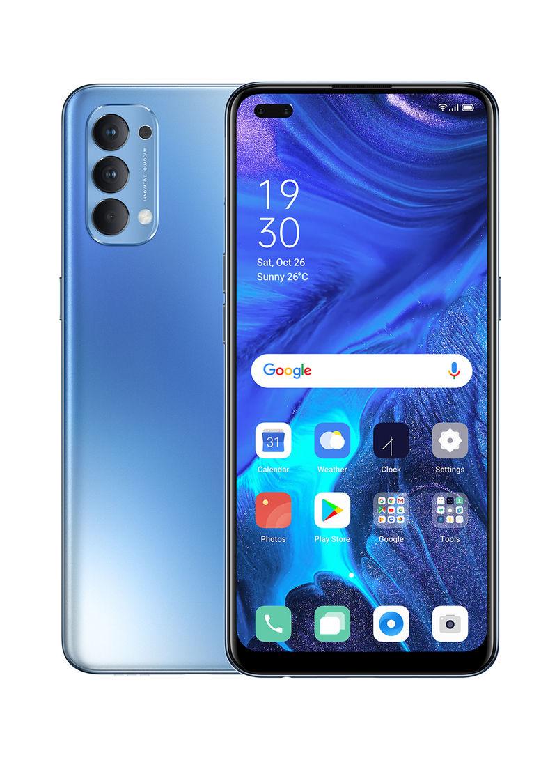 هاتف رينو 4 أزرق النجوم ثنائي الشريحة، بذاكرة رام سعة 8 جيجابايت، وذاكرة داخلية سعة 128 جيجابايت، يدعم تقنية 4G LTE