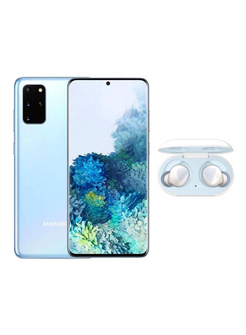 هاتف جالاكسي S20+ ثنائي الشريحة مزود بذاكرة رام سعة 8 جيجابايت وذاكرة داخلية سعة 128 جيجابايت ويدعم تقنية 4G LTE ومزود بسماعات جالاكسي بادز، لون أزرق كلاود
