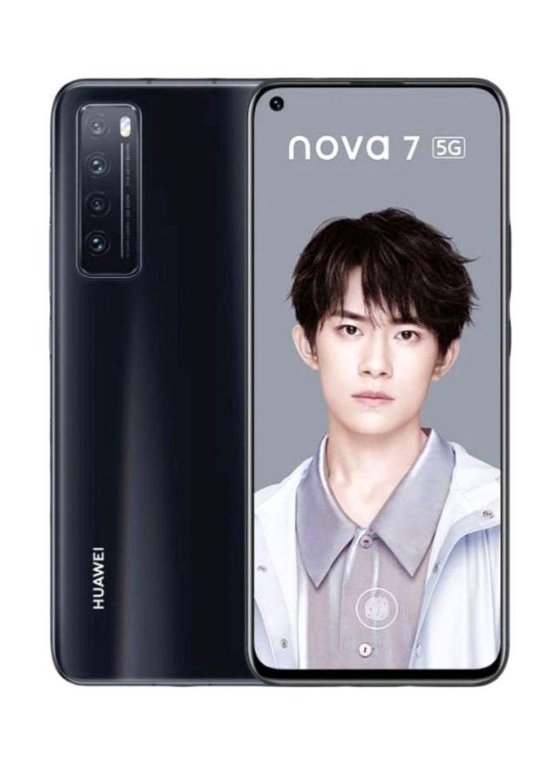 هاتف نوفا 7 ثنائي الشريحة لون أسود بذاكرة رام سعة 8 جيجابايت وذاكرة داخلية سعة 256 جيجابايت ومزود بتقنية 5G LTE