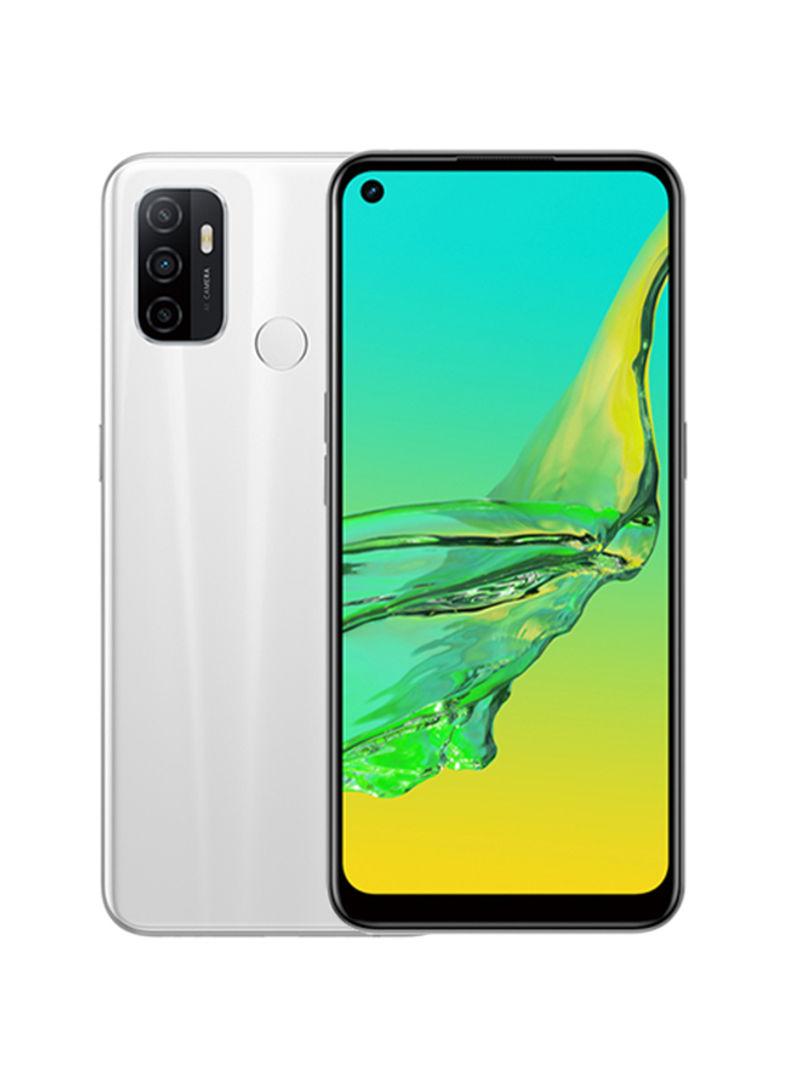 هاتف أوبو A53 ثنائي الشريحة بذاكرة داخلية سعة 64 جيجابايت وذاكرة رام سعة 4 جيجابايت ويدعم تقنية 4G LTE بلون أبيض ناصع