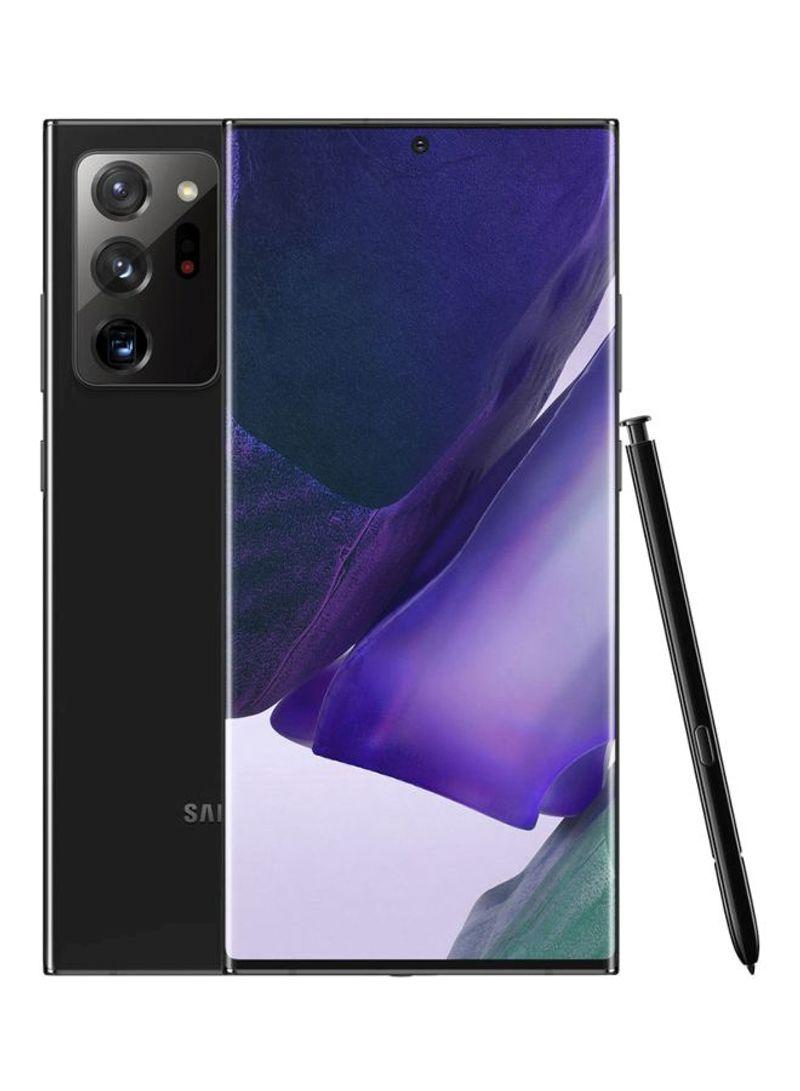 هاتف جالاكسي نوت 20 ألترا ثنائي الشريحة بذاكرة رام سعة 8 جيجابايت وسعة تخزين داخلية 256 جيجابايت يدعم تقنية 4G LTE - إصدار عالمي - بلون أسود داكن