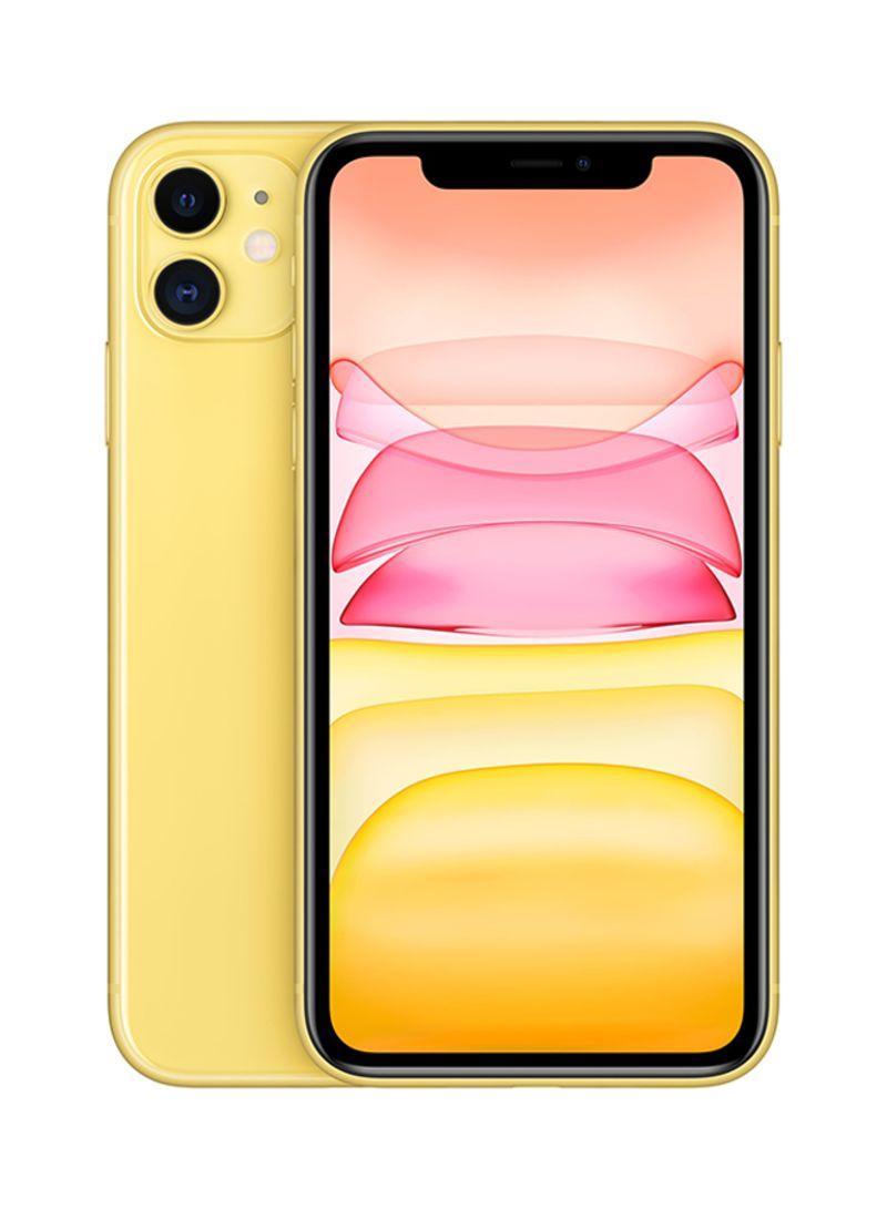 هاتف آيفون 11 بشريحتين بخاصية فيس تايم باللون الأصفر ذاكرة داخلية سعة 128 جيجابايت يدعم تقنية 4G LTE - نسخة هونج كونج