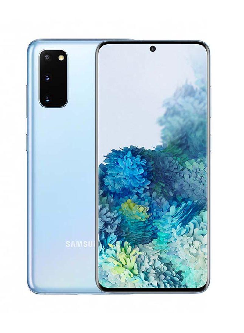 هاتف جالاكسي S20 بشريحتين وذاكرة 128 جيجابايت و8 جيجابايت رام ويدعم تقنية 4G LTE، لون أزرق كلود