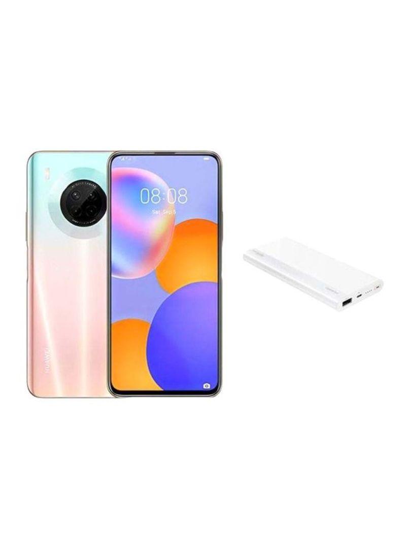 هاتف Y9A ثنائي الشريحة بذاكرة رام سعة 8 جيجابايت وذاكرة تخزين داخلية بسعة 128 جيجابايت ويدعم تقنية 4G LTE بلون وردي ساكورا مع باور بنك بسعة 10000 مللي أمبير ساعة