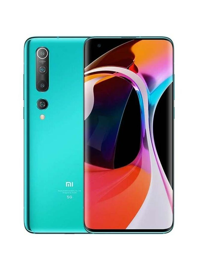 هاتف مي 10 بذاكرة رام سعة 8 جيجابايت، ذاكرة داخلية سعة 256 جيجابايت ويدعم تقنية 5G، لون أخضر كورال