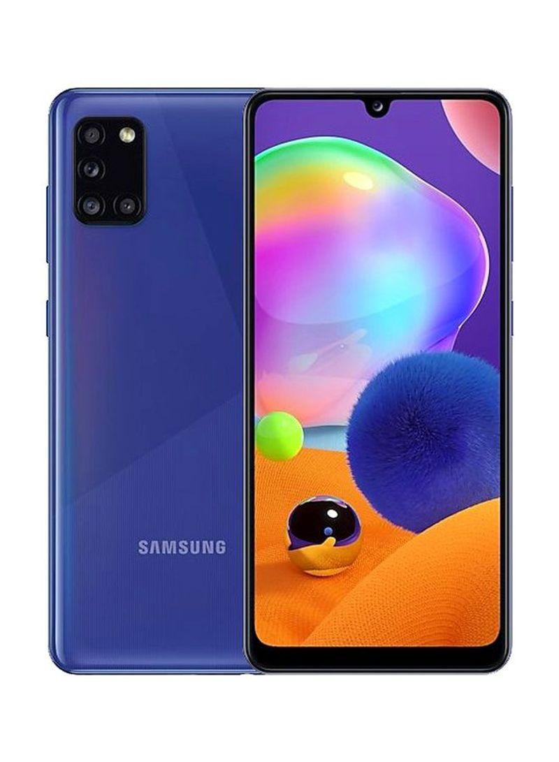 هاتف جالاكسي A31 بشريحتي اتصال بذاكرة داخلية سعة 128جيجابايت وذاكرة رام سعة 4 جيجابايت ويدعم تقنية 4G LTE لون أزرق بريزم كراش