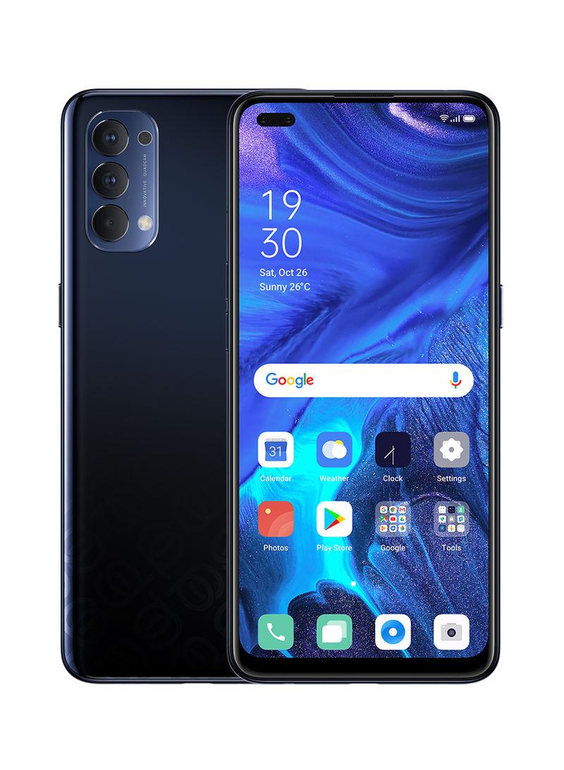 هاتف رينو 4 أسود الفضاء ثنائي الشريحة، بذاكرة رام سعة 8 جيجابايت، وذاكرة داخلية سعة 128 جيجابايت، يدعم تقنية 4G LTE