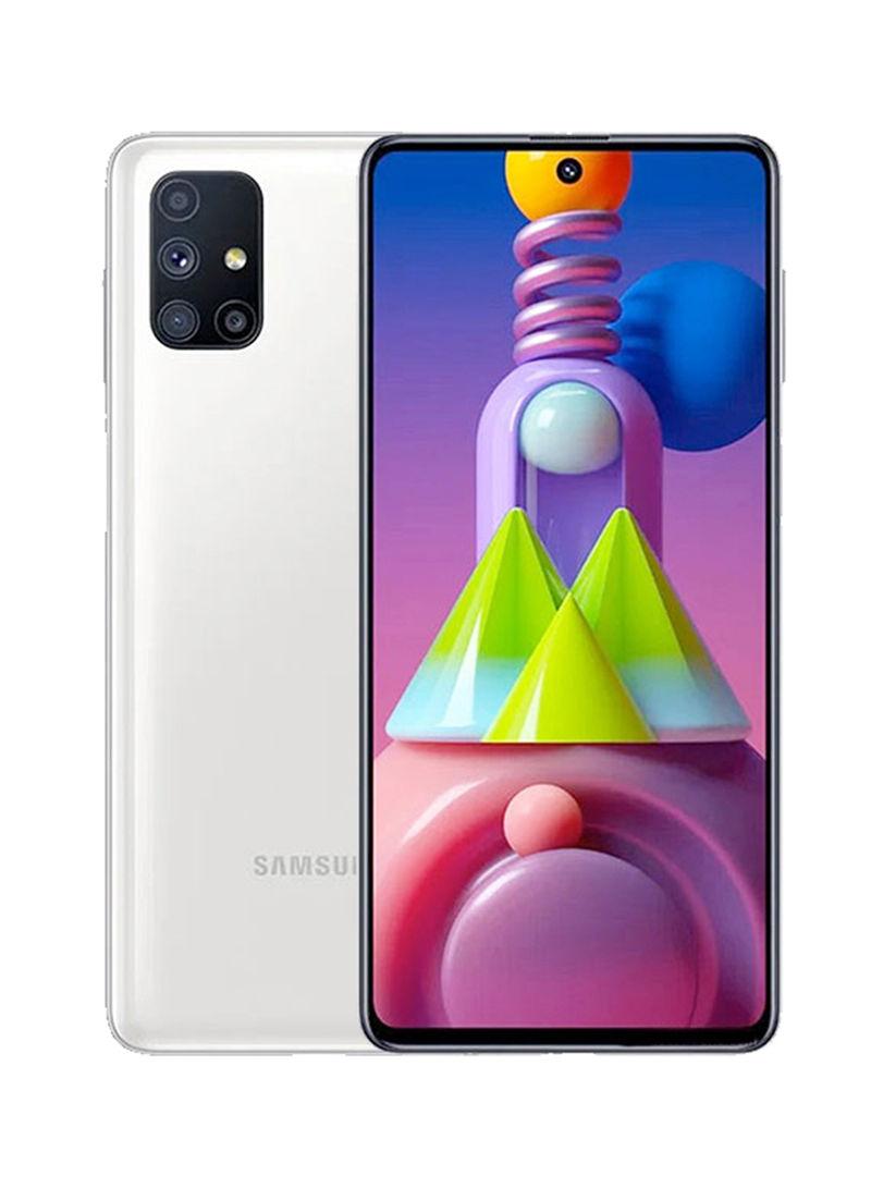 هاتف M51 ثنائي الشريحة بذاكرة رام سعة 6 جيجابايت وذاكرة داخلية سعة 128 جيجابايت يدعم تقنية 4G LTE بلون أبيض
