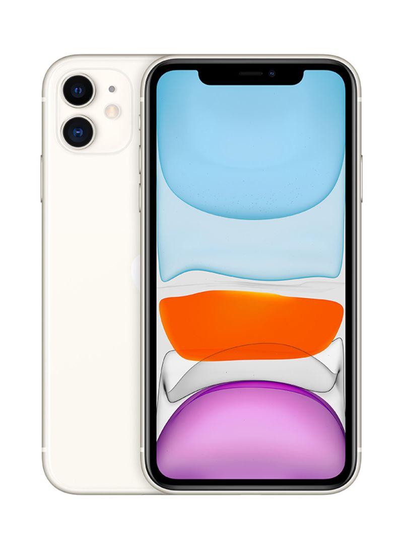 آيفون 11 بخاصية فيس تايم لون أبيض سعة 64 جيجابايت ويدعم تقنية 4G LTE - بالمواصفات المصرية