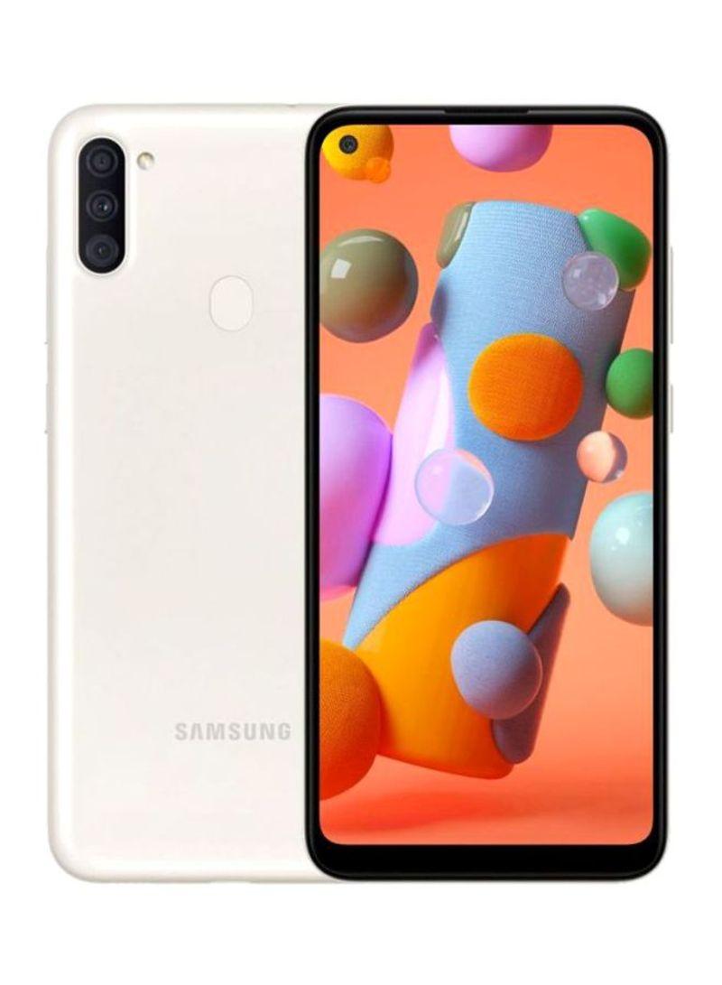 هاتف جالاكسي A11 بذاكرة رام سعة 3 جيجابايت وذاكرة داخلية سعة 32 جيجابايت ويدعم تقنية 4G LTE، لون أبيض