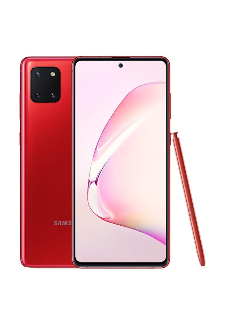 هاتف جالاكسي نوت 10 لايت لون أحمر أورا بذاكرة رام سعة 8 جيجابايت وذاكرة داخلية سعة 128 جيجابايت ويدعم تقنية 4G LTE