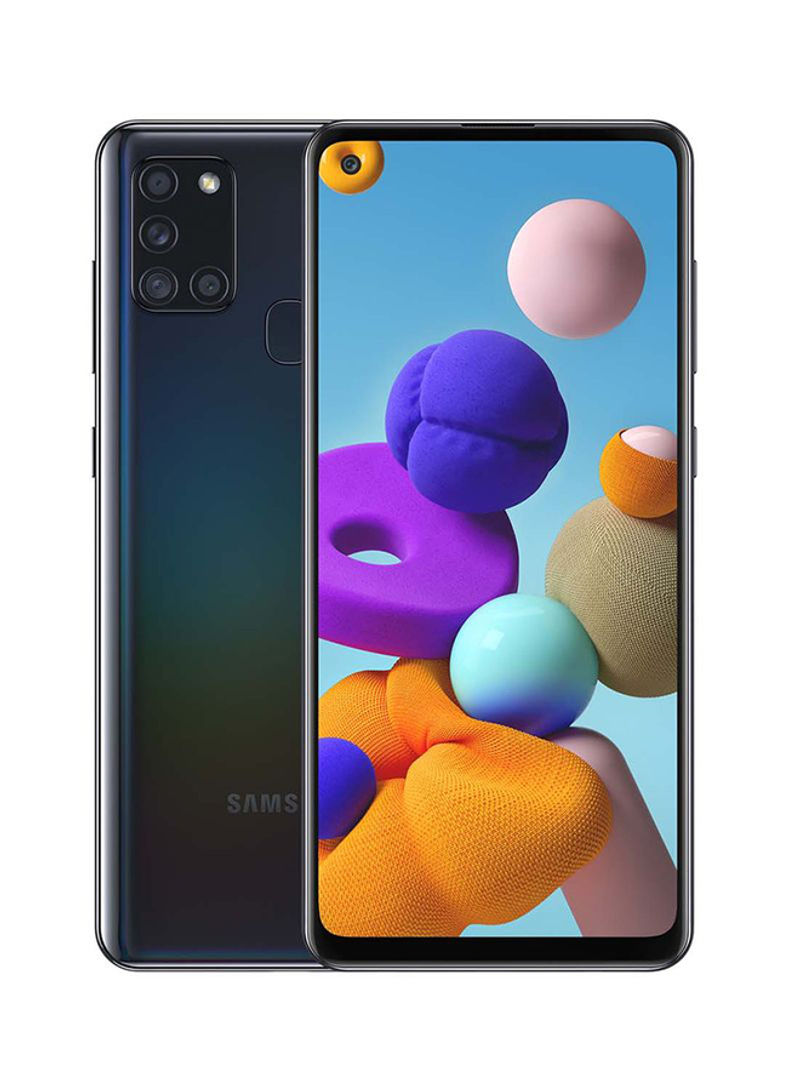 هاتف جالاكسي A21s ثنائي الشريحة بذاكرة داخلية 64 جيجابايت وذاكرة رام 4 جيجابايت ويدعم تقنية 4G LTE، لون أسود
