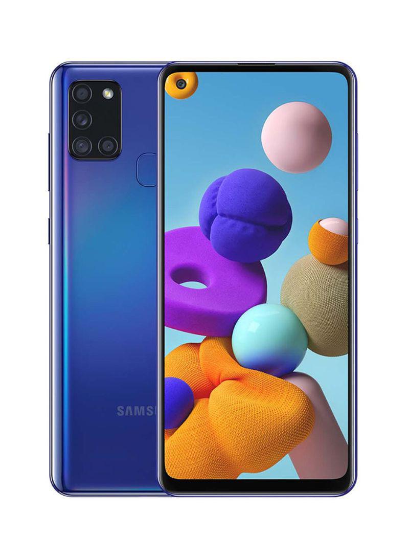 هاتف جالاكسي A21s ثنائي الشريحة بذاكرة داخلية 64 جيجابايت وذاكرة رام 4 جيجابايت ويدعم تقنية 4G LTE لون أزرق