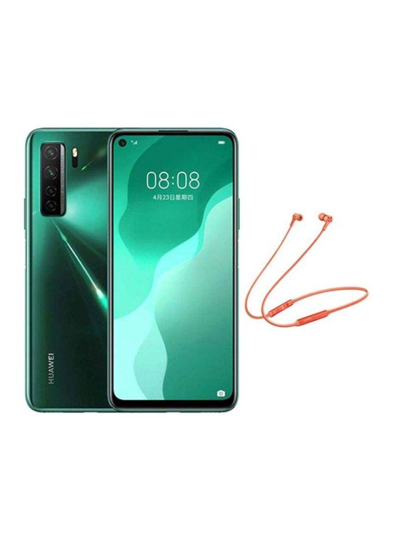 هاتف نوفا 7 SE ثنائي الشريحة بذاكرة رام 8 جيجابايت وبسعة تخزين داخلية 128 جيجابايت ويدعم تقنية 5G LTE بلون أخضر مشرق مع سماعة أذن داخلية هواوي فريلاس بلوتوث 122 مللي أمبير في الساعة