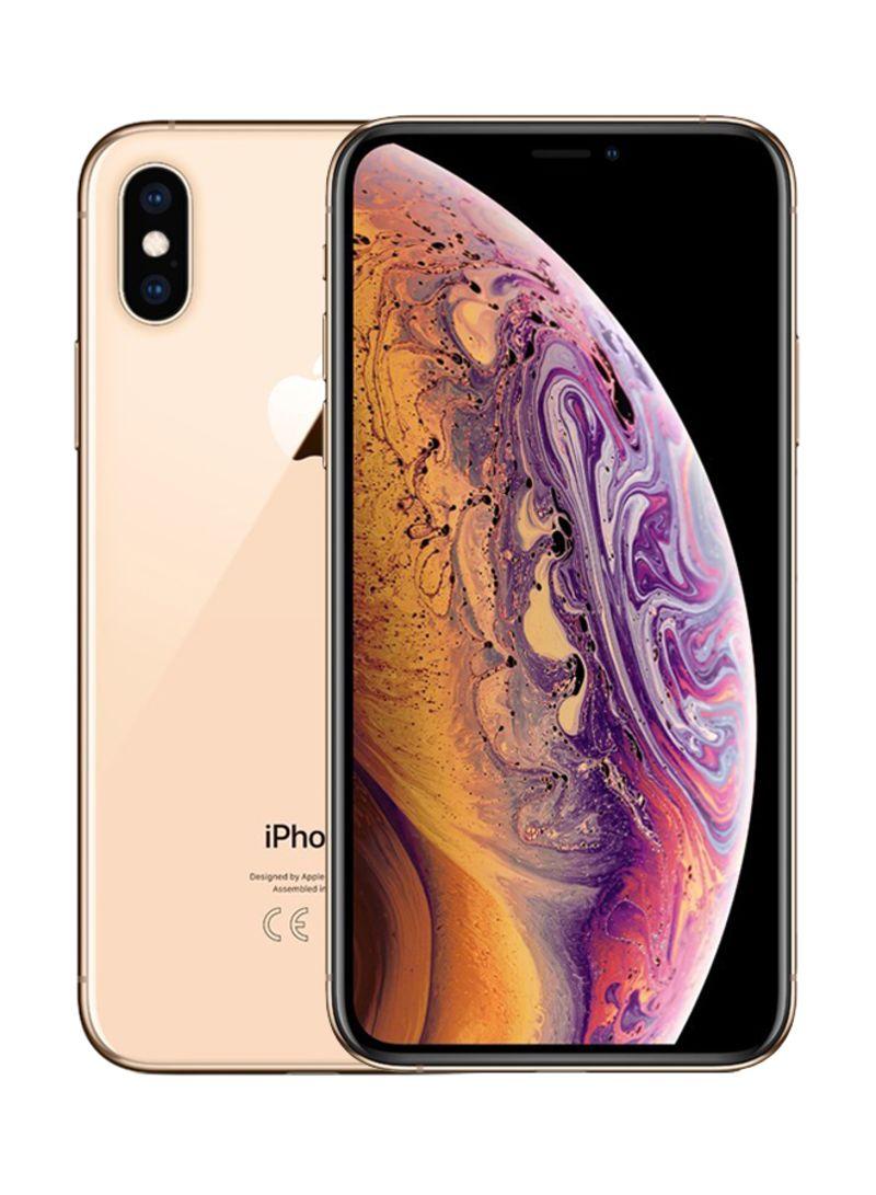 هاتف آيفون XS ماكس بخاصية فيس تايم بلون ذهبي وذاكرة داخلية سعة 64 غيغابايت ويدعم خدمة الجيل الرابع LTE
