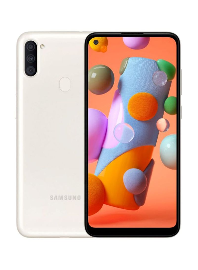 هاتف جالاكسي A11 بشريحتين بلون أبيض بذاكرة رام 2 جيجابايت وذاكرة داخلية سعة 32 جيجابايت ويدعم تقنية 4G LTE