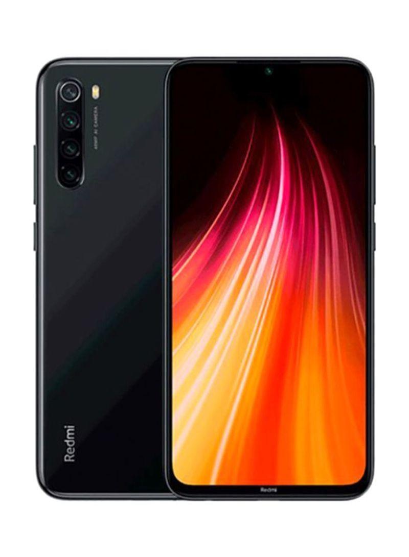هاتف ريدمي نوت 8 بمواصفات عالمية ثنائي الشريحة لون أسود مع ذاكرة داخلية سعة 64 جيجابايت وذاكرة رام 4 جيجابايت، يدعم تقنية 4G LTE
