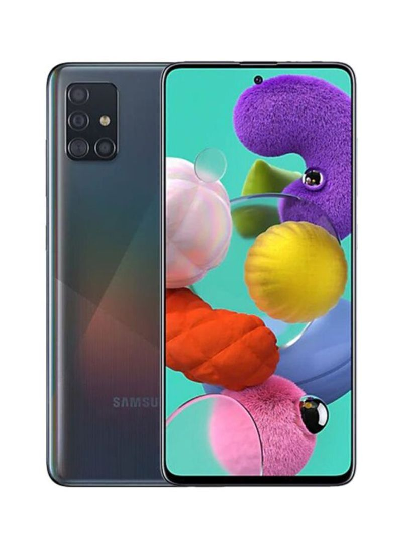 هاتف جالاكسي A51 ثنائي الشريحة بذاكرة داخلية 128 جيجابايت وذاكرة رام 6 جيجابايت ويدعم تقنية 4G LTE - إصدار الإمارات العربية المتحدة، لون أسود بريزم كراش