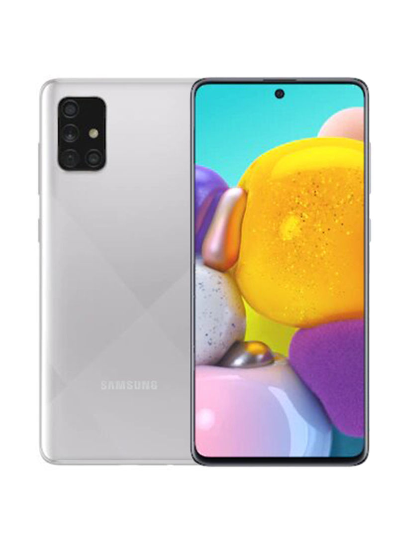 هاتف جالاكسي A71 ثنائي الشريحة بذاكرة رام سعة 6 جيجابايت وذاكرة داخلية سعة 128 جيجابايت ويدعم تقنية 4G LTE، لون فضي كراش هازي