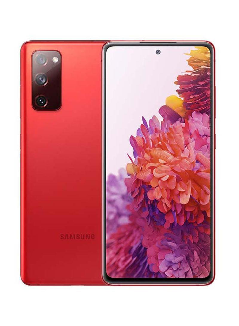 هاتف جالاكسي S20 FE ثنائي الشريحة مزود بذاكرة رام سعة 8 جيجابايت وذاكرة داخلية سعة 128 جيجابايت ويدعم تقنية 4G LTE، لون أحمر سحابي - إصدار الشرق الأوسط