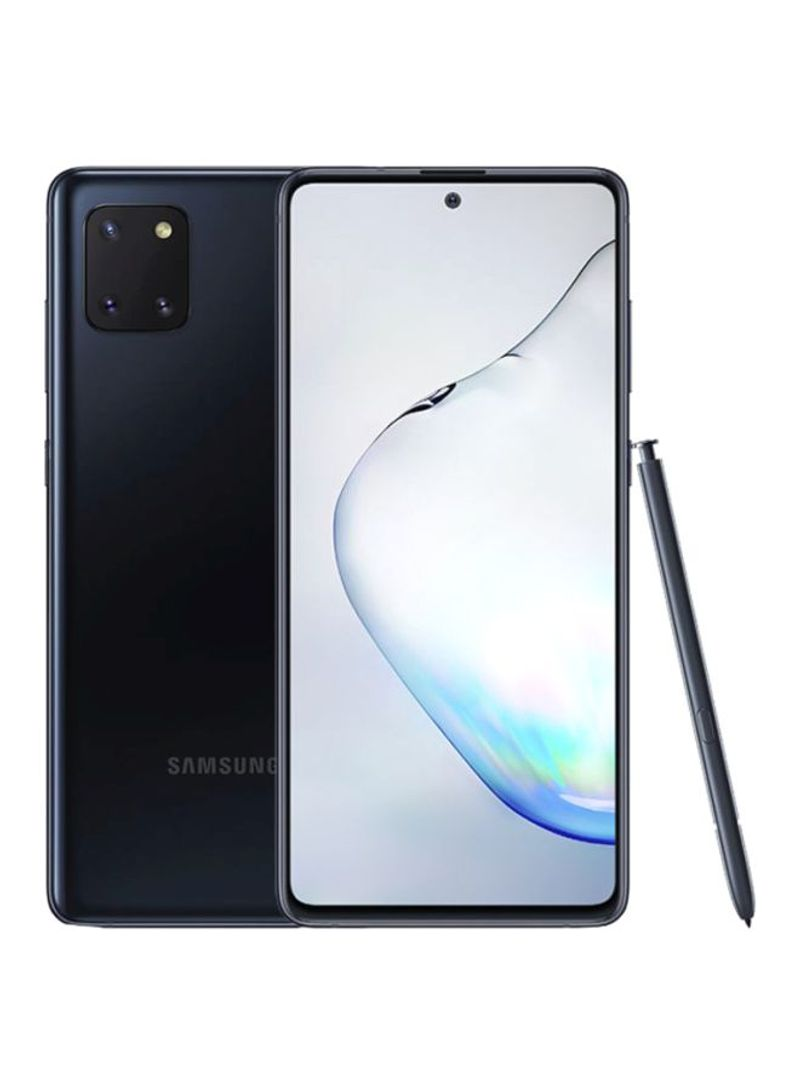 هاتف جالاكسي نوت 10 لايت لون أسود أورا بذاكرة رام سعة 8 جيجابايت وذاكرة داخلية سعة 128 جيجابايت ويدعم تقنية 4G LTE