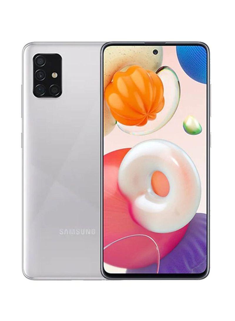هاتف جالاكسي A51 ثنائي الشريحة بذاكرة رام سعة 6 جيجابايت وذاكرة داخلية 128 جيجابايت يدعم تقنية 4G LTE، لون فضي هيز كراش