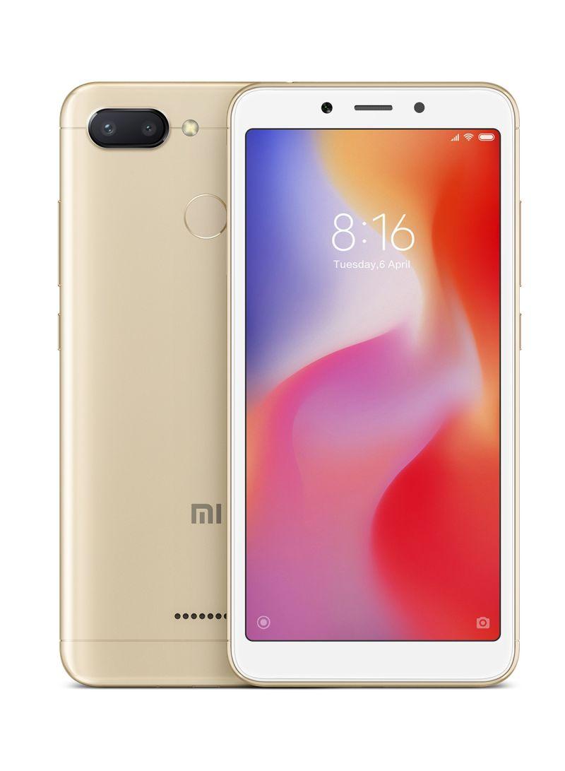 هاتف ريدمي 6 ثنائي الشريحة بلون ذهبي وبذاكرة داخلية سعة 32 جيجابايت وذاكرة رام سعة 3 جيجابايت ويدعم تقنية 4G LTE