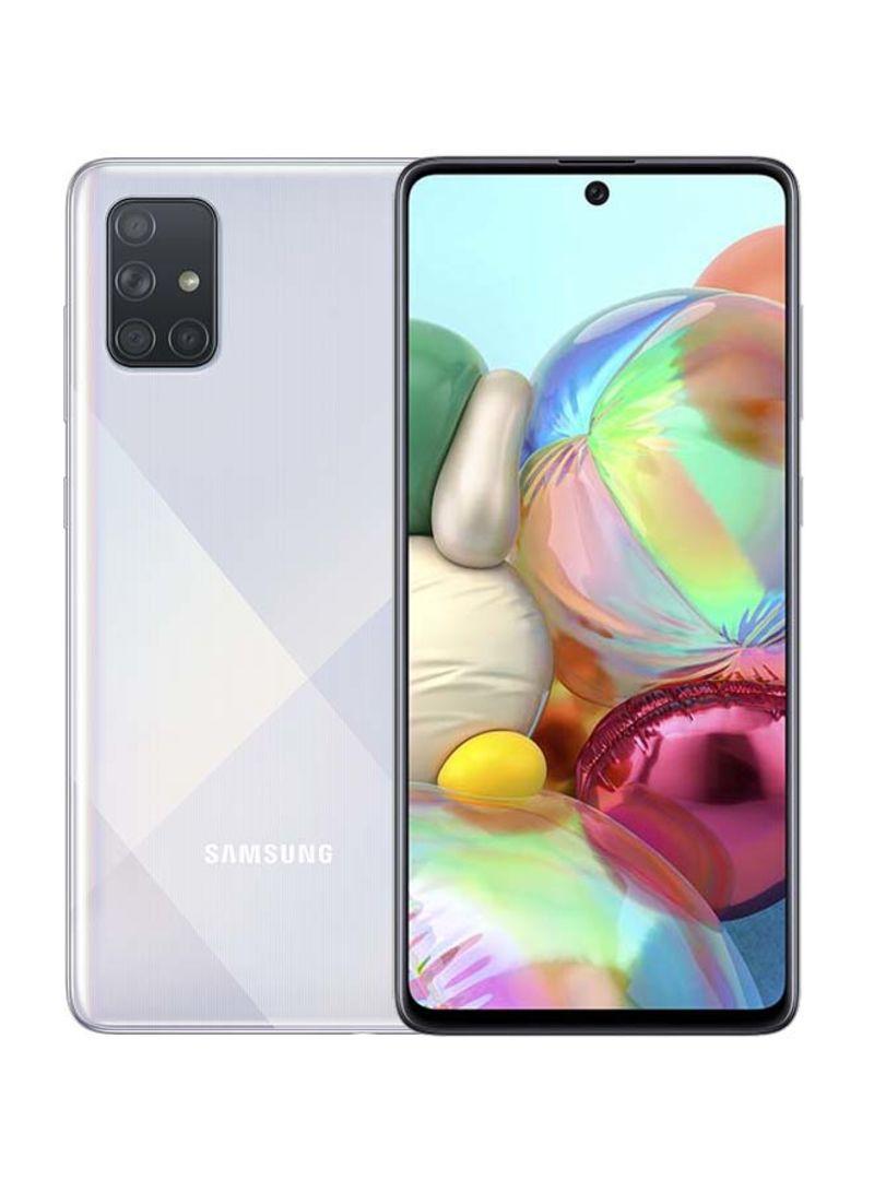 هاتف سامسونج جلاكسي A71 بشريحتين وذاكرة رام سعة 8 جيجابايت وذاكرة داخلية سعة 128 جيجابايت ويدعم تقنية 4G LTE، لون فضي بريزم كراش - إصدار الإمارات العربية المتحدة