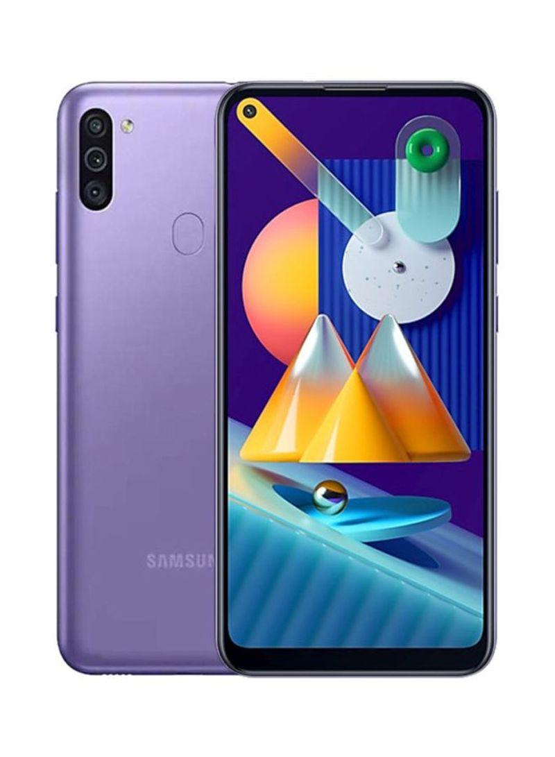 هاتف جالاكسي M11 بشريحيتن بلون بنفسجي بذاكرة رام 3 جيجابايت وذاكرة داخلية سعة 32 جيجابايت ويدعم تقنية 4G LTE