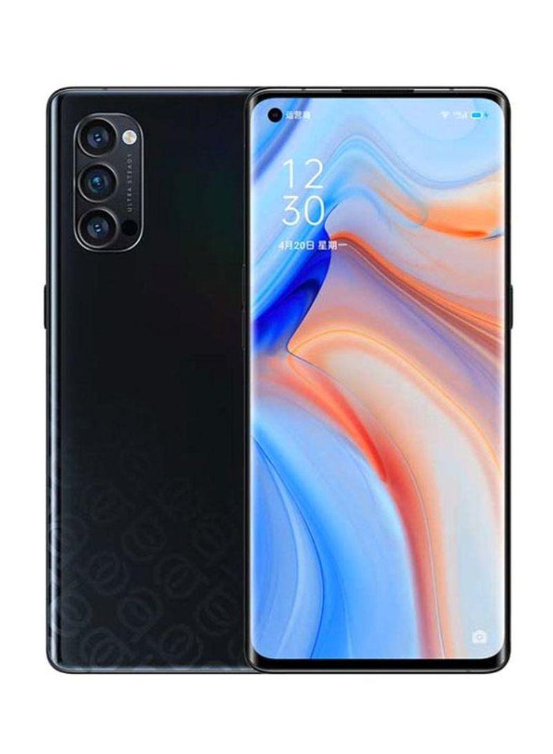 هاتف رينو 4 ثنائي الشريحة بذاكرة رام سعة 8 جيجابايت وذاكرة داخلية سعة 128 جيجابايت يدعم تقنية 4G LTE، لون أسود حالك