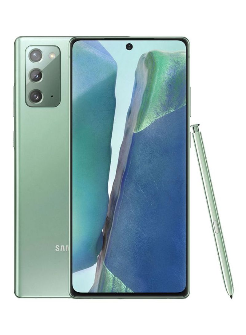 هاتف جالاكسي نوت 20 ثنائي الشريحة بذاكرة رام سعة 8 جيجابايت وذاكرة تخزين داخلية بسعة 256 جيجابايت يدعم تقنية 4G LTE بلون أخضر داكن - إصدار عالمي