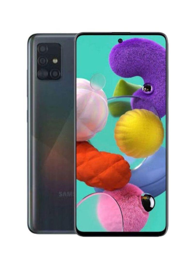 هاتف جلاكسي A51 بشريحة واحدة ذاكرة داخلية 128 جيجابايت وذاكرة رام 6 جيجابايت يدعم تقنية 4G LTE، لون أسود بريزم كراش