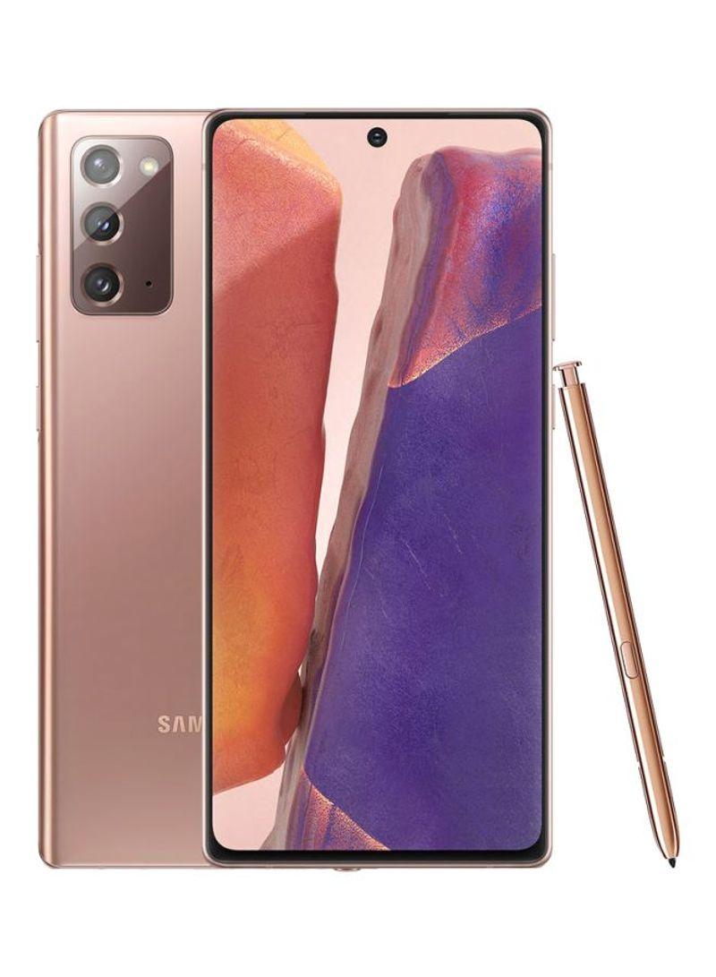هاتف جالاكسي نوت 20 ثنائي الشريحة بذاكرة رام سعة 8 جيجابايت وذاكرة تخزين داخلية بسعة 256 جيجابايت، يدعم تقنية 4G LTE بلون برونزي داكن - إصدار عالمي