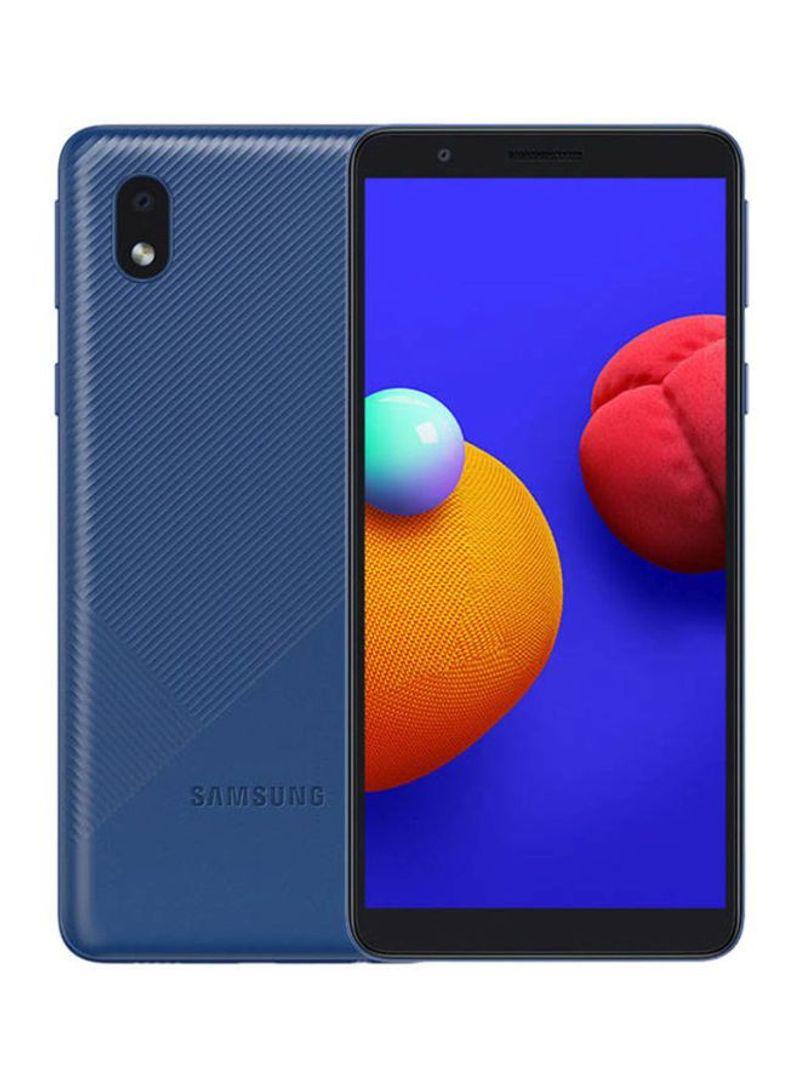 هاتف جالاكسي A01 كور ثنائي الشريحة بذاكرة رام سعة 1 جيجابايت وسعة تخزين داخلية 16 جيجابايت يدعم تقنية 4G LTE - إصدار الإمارات العربية المتحدة - بلون أزرق